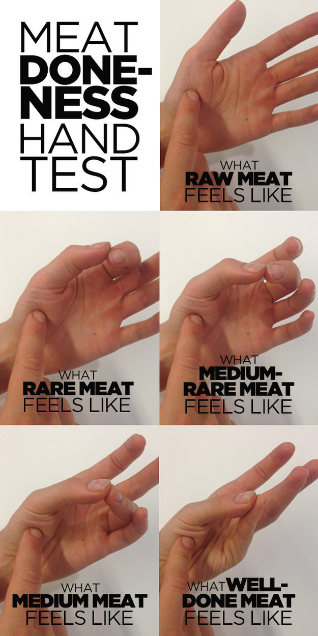 Don't cut into your meat to check how done it is; try the ~meat done-ness hand test~ for perfectly pink results every time.