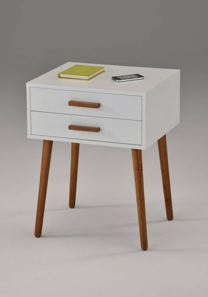 "Promising review: ""Great side table — I like the generously sized top. Enough room for a small lamp, a couple of books, etc. The drawers are not overly deep, but big enough for my needs. Pretty, clean design, and easy care."" —VicPrice: $64.50"