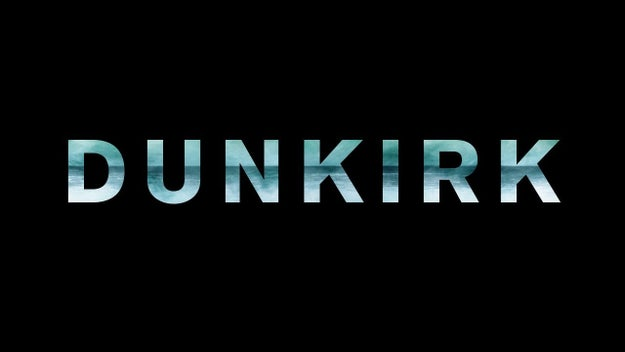 """The title """"Dunkirk"""" is divided into three segmented colors: sky blue, dark blue, and white, referring to the triptych plot of air, sea, and land."""