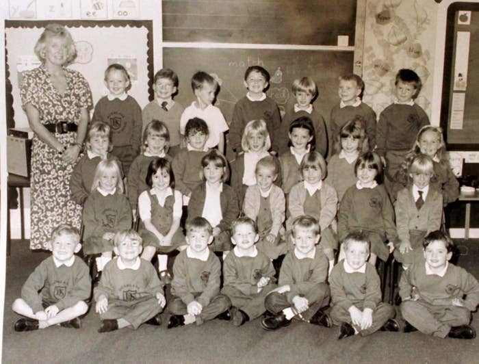 Schoolchildren at Dunblane primary school, pictured with teacher Gwenne Mayor, who was killed alongside 16 of her pupils.