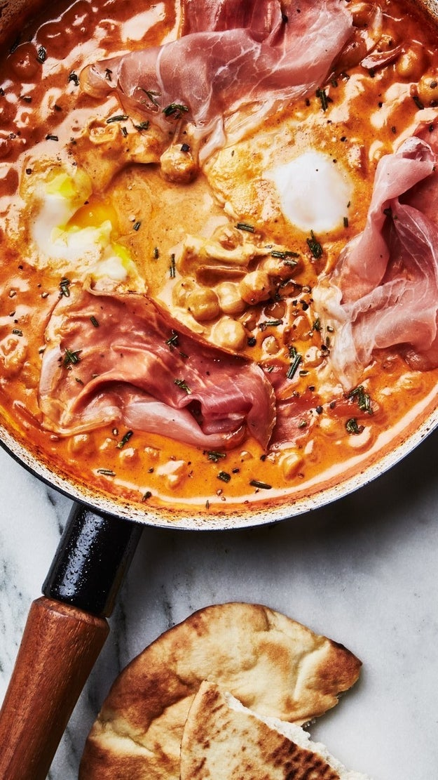 One-Skillet Creamy Chickpeas with Eggs and Prosciutto