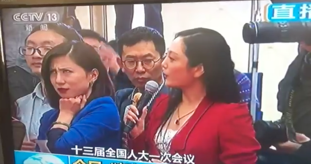 Basically here's what happened: During China's annual parliamentary session, Zhang Huijun, the woman in red, asked a government official a fawning, long-winded question. Liang Xiangyi, a reporter for Shanghai-based Yicai.com, wasn't having any of it.