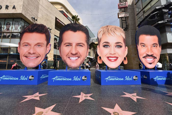 American Idol judges' giant head display takes over the Walk of Fame on Hollywood Boulevard, March 12, 2018, in Hollywood.