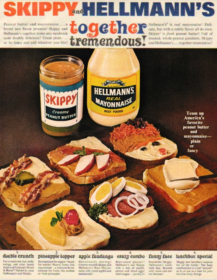 """The text reads in part: """"Peanut butter and mayonnaise...a brand new flavor promise! Skippy and Hellmann's together make any sandwich taste doubly delicious!"""""""