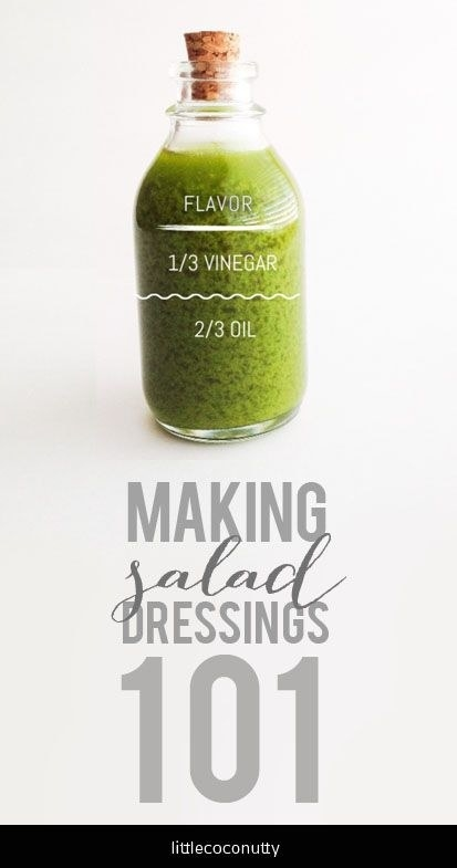 Never buy salad dressing again — making your own vinaigrette is as easy as this ratio: one part vinegar/acid, two parts oil.