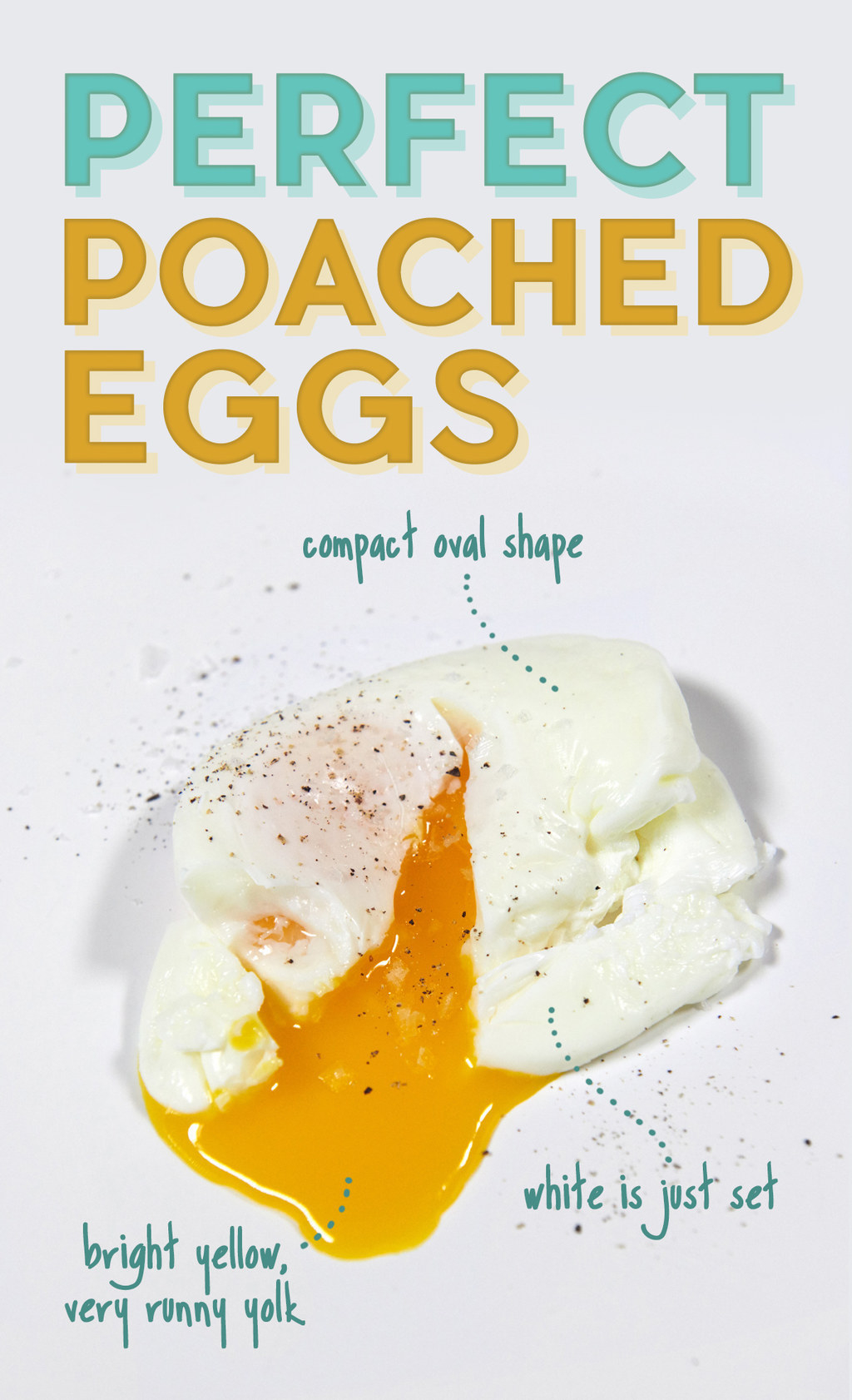 A perfect poached egg, with a compact oval shape, just set whites, and a bright yellow, very runny yolk