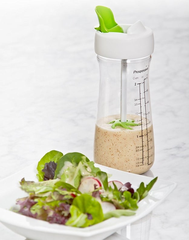 Btw, you can just whip one up right in a handy mix-and-pour salad dressing bottle. It has measurement markings to make things ridiculously easy, and a whisk ball inside so you re-combine your dressings right before you pour.
