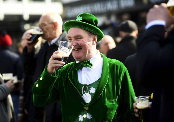Paddy Cusack of Cheltenham, England, enjoys a pint of Guinness in 2016.