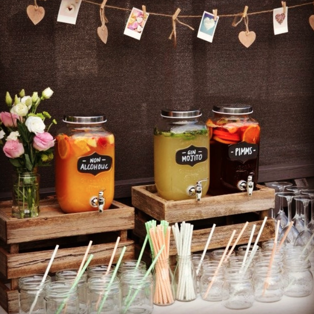 "If an open bar is out of your price range, try DIY-ing your own ""watercooler bar."""