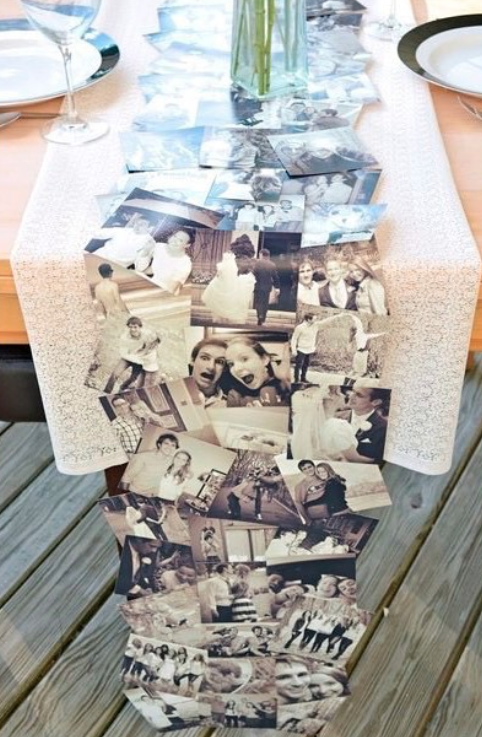 Create a one-of-a-kind table runner made from family photos.