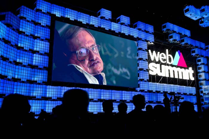 Hawking seen in a video message during the opening ceremony of the 2017 Web Summit in Lisbon.