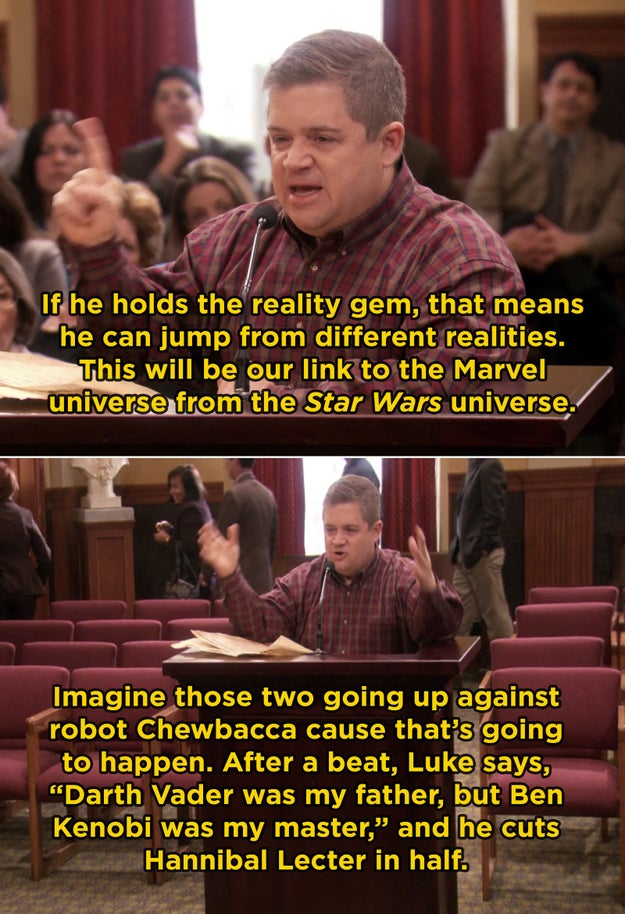 In Parks and Rec, Patton Oswalt's filibuster monologue was completely improvised. He was given free reign, so he talked about a proposed Star Wars and Marvel crossover film.