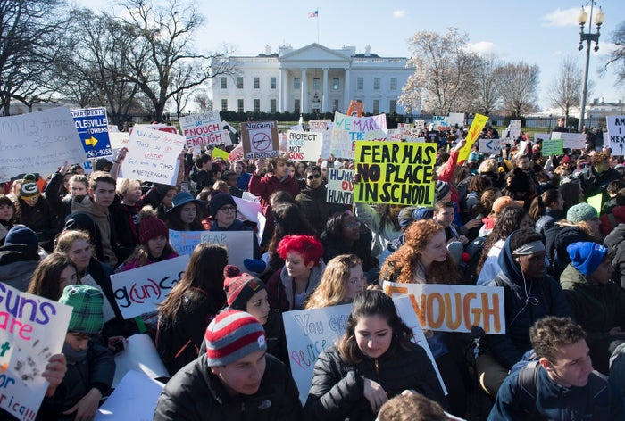 """Thousands of students in Washington, DC (pictured above), not only walked out of their schools to march with their messages advocating for stricter gun laws — they marched right up to the White House.""""Fear has no place in school,"""" """"Enough,"""" """"g(un)safe,"""" some of their signs read.High school, middle school, and even elementary schools — with those as young as 11 years old — participated and were fully engaged in a national conversation."""