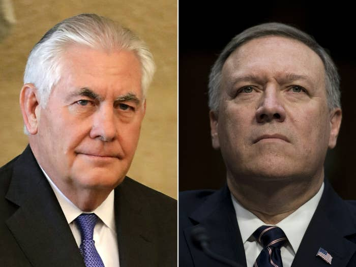 Outgoing Secretary of State Rex Tillerson is on the left; on the right is his proposed replacement, Mike Pompeo.