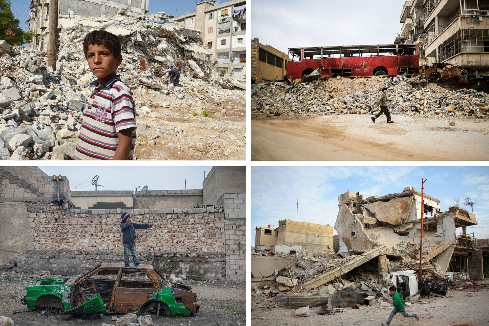 Top left, a boy walks past a building destroyed during fighting in Aleppo, 2012. Top right, A child spotted walking in the rubbles of Aleppo, 2014. Bottom left, a Syrian child in Aleppo, 2016. Bottom right, a Syrian boy runs past a destroyed building in Douma, 2018.