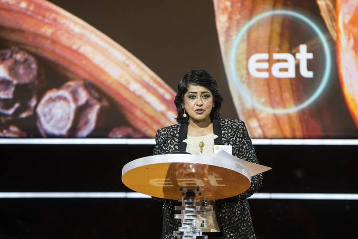 Gurib-Fakim gives a speech on June 12, 2017, in Stockholm.