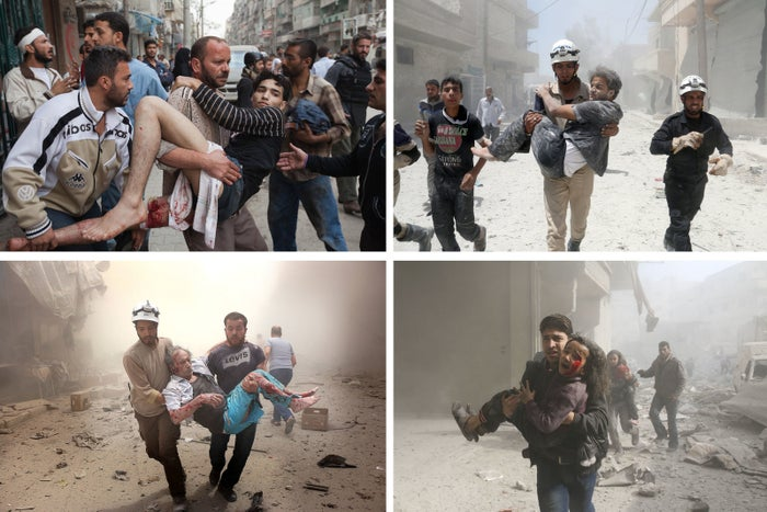 Top left, a wounded man is carried out of a frontline hospital after receiving treatment, Aleppo, 2012. Top right, a Syrian rescue worker carries a man following an alleged airstrike in Aleppo, 2014. Bottom left, search and rescue team members carry a man after Syrian regime airstrikes in Aleppo, 2016. Bottom right, a Syrian man carries a wounded girl after airstrikes in Eastern Ghouta, 2018.