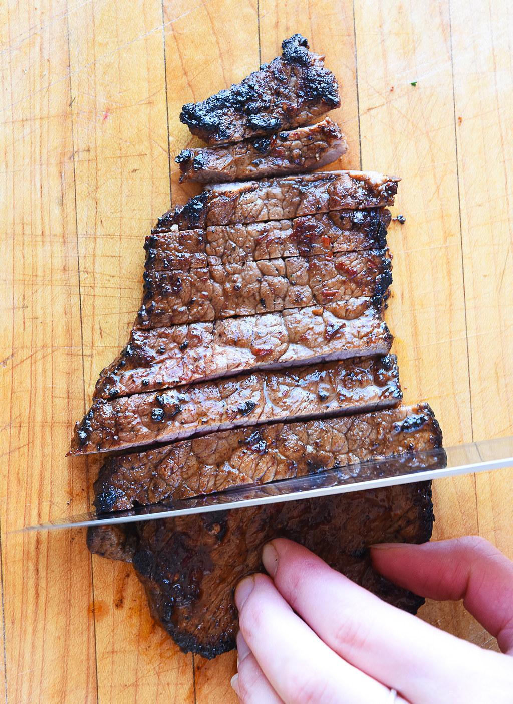 A steak being sliced