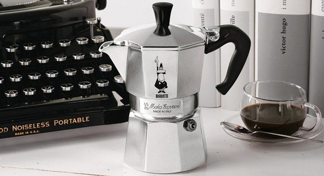 """Promising review: """"My husband loves this little coffee pot! Quick, great tasting coffee every single time! If you are a novice, you must be careful! When putting this back together between uses, all coffee grounds must be cleaned off of the edges of the pot and out from under the gasket before you put it together, or it will not make coffee because of steam leaking out. Don't overfill the reservoir with water, or it will leak hot water while you are pouring coffee into your cup. This works quicker than you think it will, so you must keep an eagle eye on it after firing up your stove!"""" —Granny Susie Price: $20.23+ (available in 1-cup through 12-cup sizes and in nine colors)"""