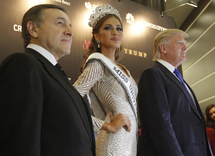 Trump, Aras Agalarov, and Miss Universe 2013 Gabriela Isler after the Miss Universe pageant at the Crocus City Hall in Moscow Nov. 9, 2013.
