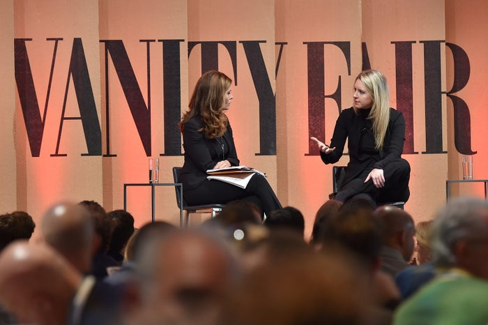 NBC News' Maria Shriver interviews Holmes at the Vanity Fair New Establishment Summit at Yerba Buena Center for the Arts in 2015.
