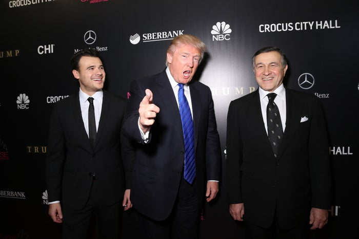 Emin Agalarov, Donald Trump, and Aras Agalarov at the Miss Universe Pageant Competition on Nov. 9, 2013.