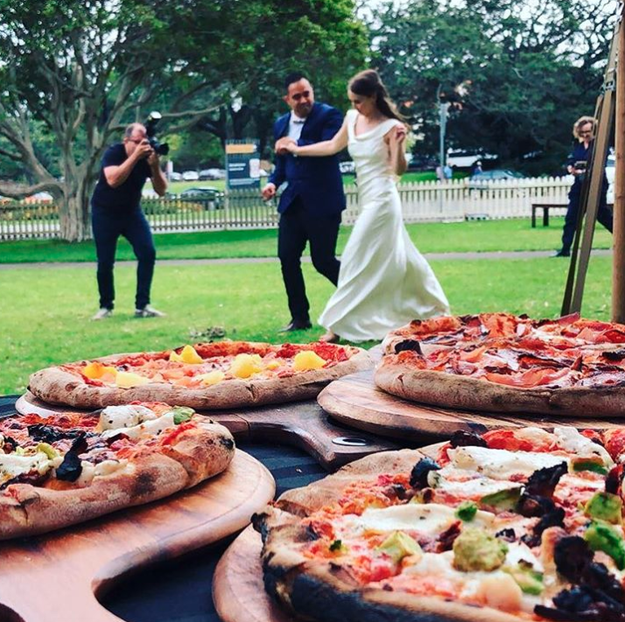 Honestly? Eat whatever you want to eat. It doesn't have to be chicken or fish — it can be pizza! It's YOUR wedding.