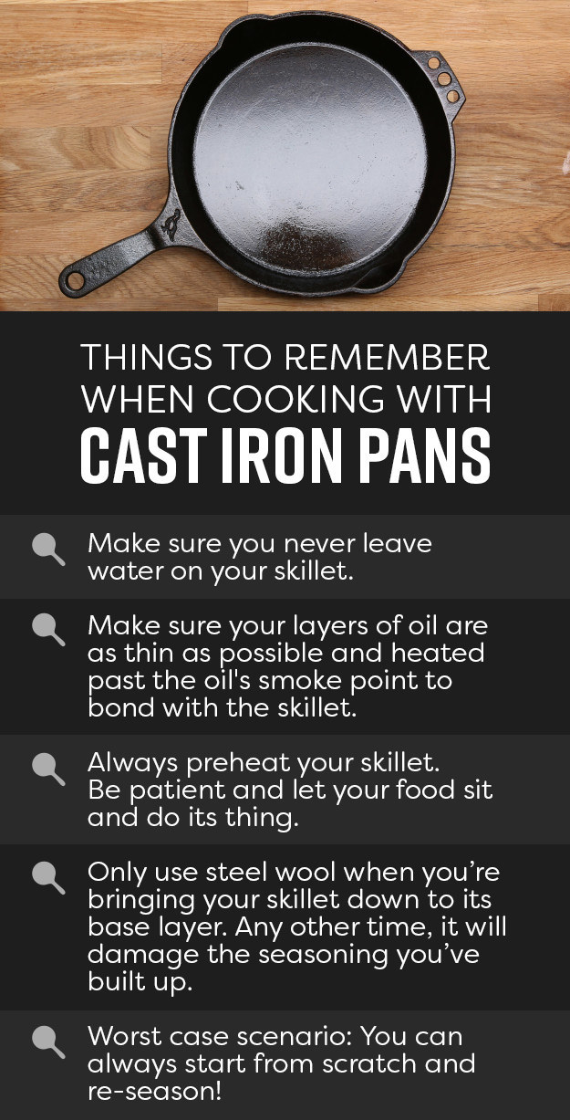 A diagram with tips on cast iron, listed below