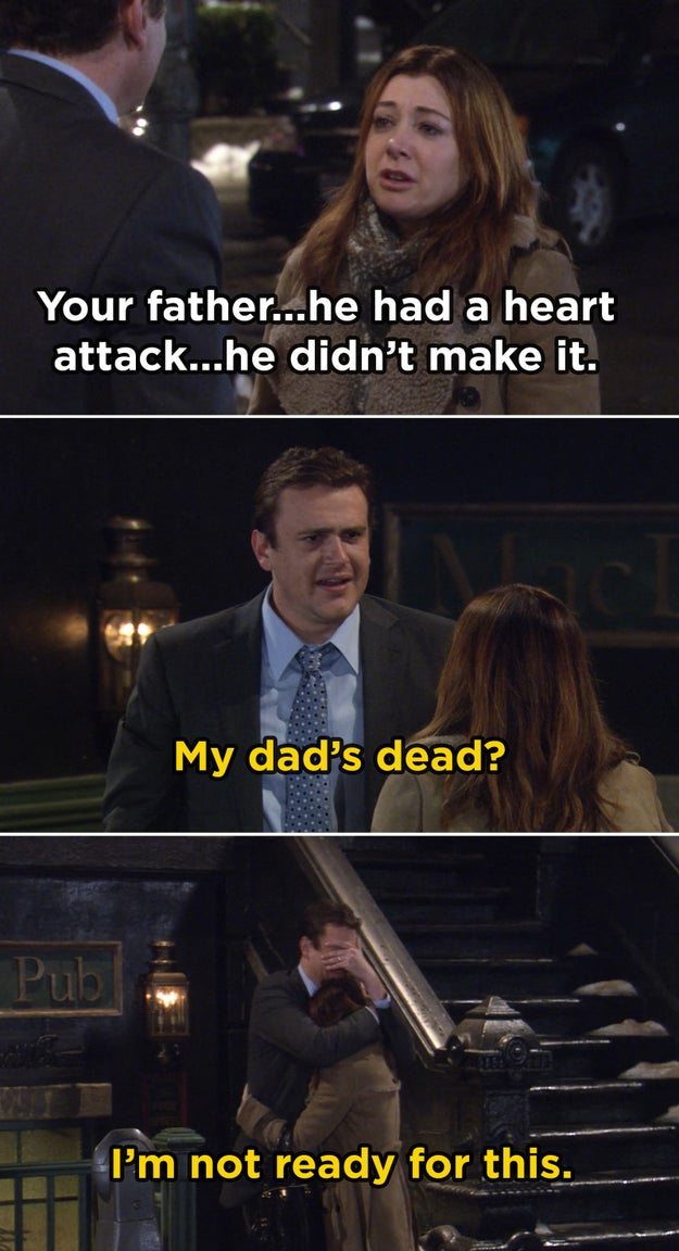 In How I Met Your Mother, Jason Segel didn't know Marshall's dad was going to die until they shot the episode, so the final cut consists of his genuine reaction.