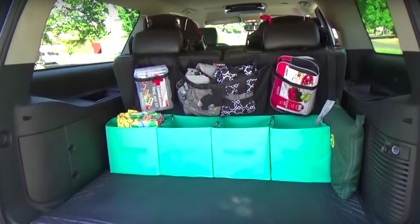 28 ways to make your car less of a trash heap connect storage bins with binder clips to make a trunk organizer solutioingenieria Choice Image