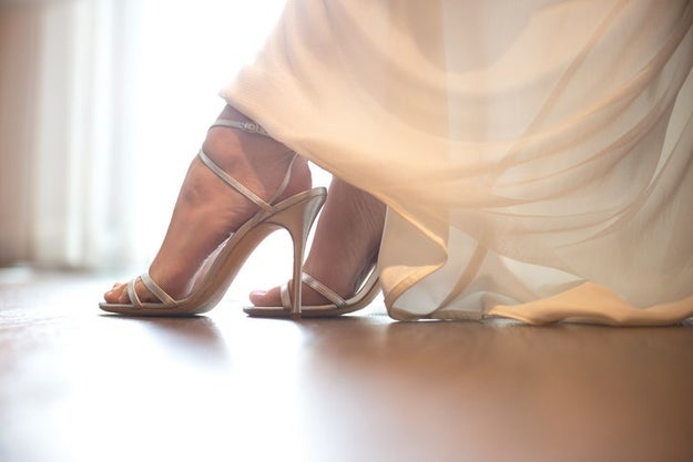 When you're dress shopping, bring a pair of heels that are similar in height to what you'll be comfortable wearing on your big day.