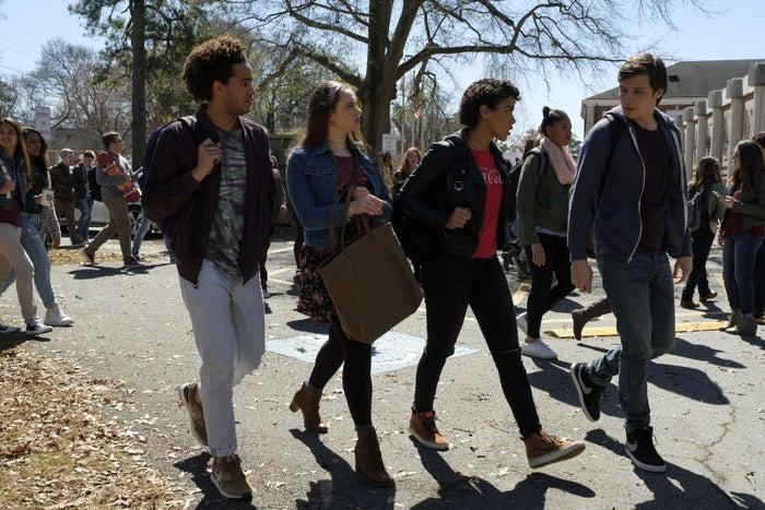 From left to right: Jorge Lendeborg Jr. (Nick), Katherine Langford (Leah), Alexandra Shipp (Abby), and Nick Robinson (Simon).