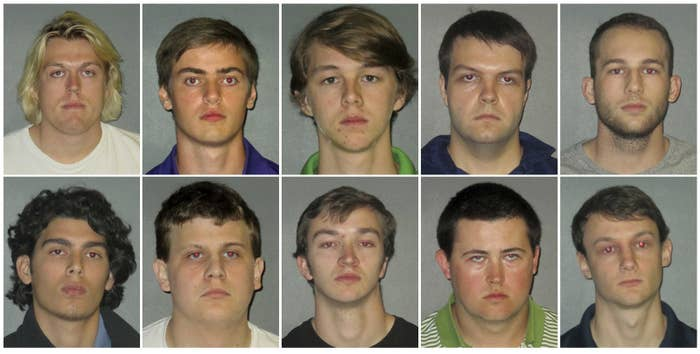 Top row, left to right: Sean-Paul Gott, Ryan Isto, Sean Pennison, Elliott Eaton, and Nicholas Taulli. Bottom row, left to right: Zachary Castillo, Hudson Kirkpatrick, Zachary Hall, Patrick Forde, and Matthew Naquin. They were all initially arrested in connection with the death.