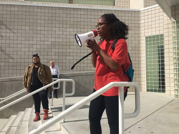 Marianna Grayer addressing her school's walkout.