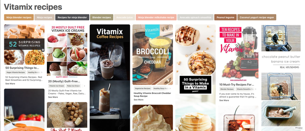 """So, Google throws up almost 4.5 million results for """"Pinterest Vitamix recipes""""."""