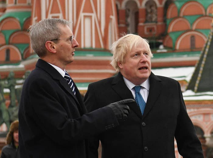Dr Laurie Bristow, the UK's ambassador to Russia (left), with Boris Johnson when the Foreign Secrtary visited Moscow in December 2017