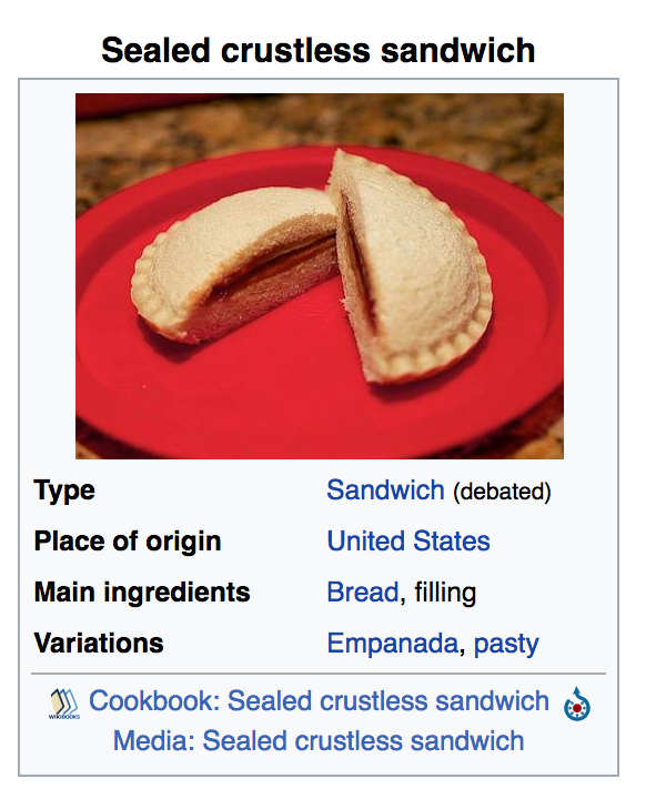 However, in the time it took me to draft up this post, the Wikipedia entry was edited to re-categorize sealed crustless sandwiches as primarily a sandwich (debated.)