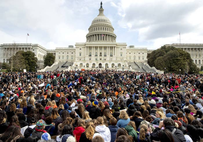 Students rally outside the Capitol in Washington, DC, on March 14. Students walked out their schools to protest gun violence in the biggest demonstration yet of the student activism that has emerged in response to last month's massacre of 17 people at Florida's Marjory Stoneman Douglas High School.