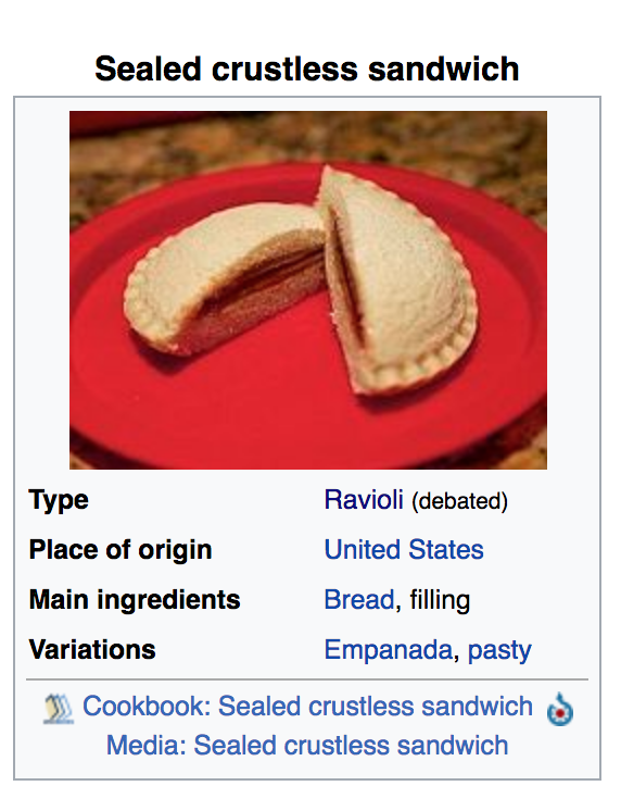 "So, I checked and — at that very moment — according to Wikipedia, ""sealed crustless sandwiches,"" A.K.A. Uncrustables, could be categorized as a type of ravioli."