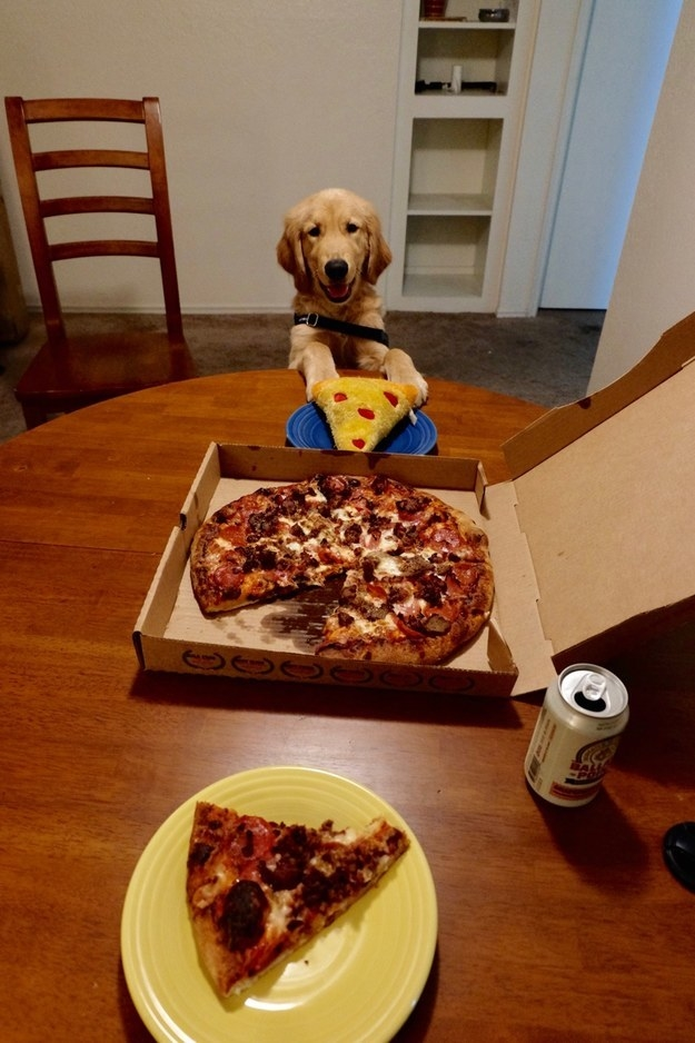 This boy who gets his own slice and OMG LOOK HOW HAPPY HE IS.