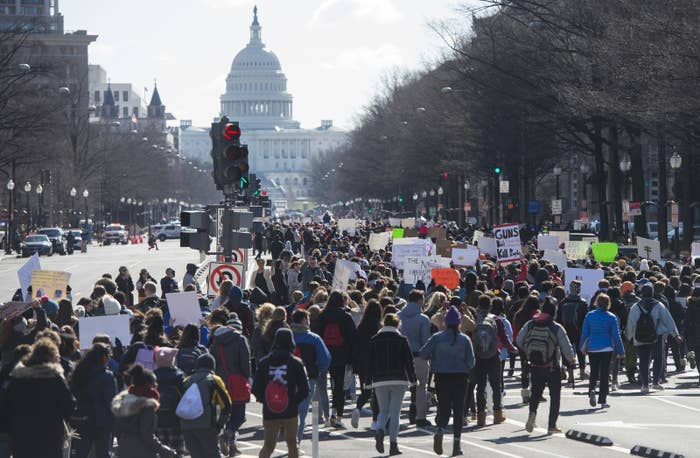 Thousands of students march down Pennsylvania Avenue from the White House to the US Capitol during a nationwide student walkout for gun control.