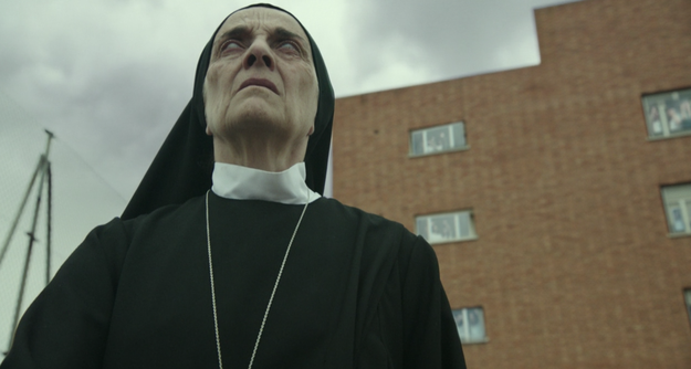 About 15 minutes in nothing creepy has happened, but a nun is staring into the sun during a solar eclipse so you can feel something coming.