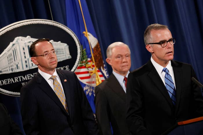 Andrew McCabe, then–acting FBI director, speaking during a news conference on July 20, 2017.