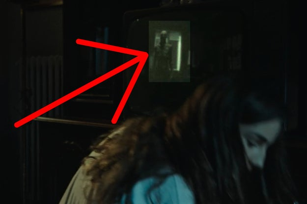 VERONICA TURNED OFF HER TV AND THERE'S A FIGURE IN THE REFLECTION.