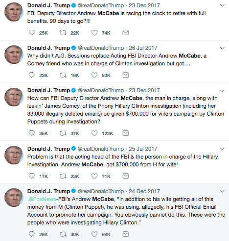 President Trump's tweets about Andrew McCabe: