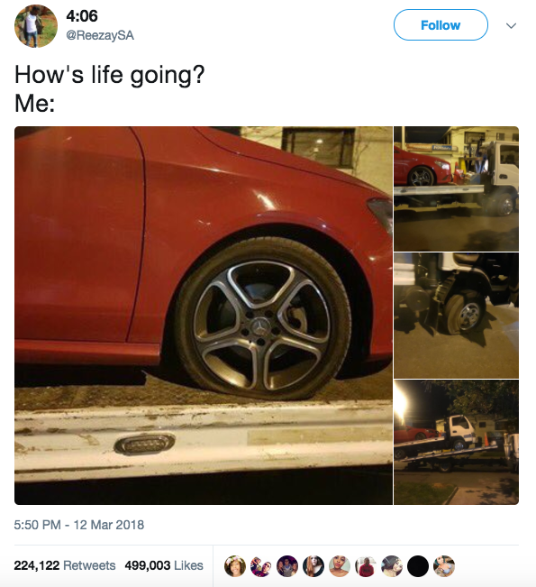 This guy, whose car got a flat tire — and then when he called a tow truck, it also got a flat tire: