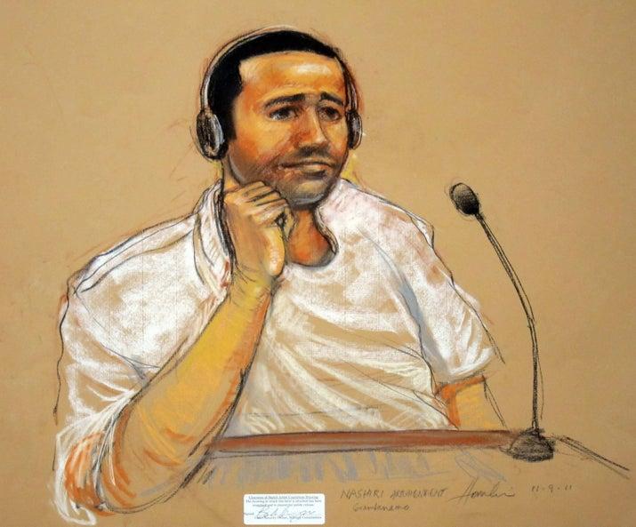 Al-Nashiri during court proceedings at Guantanamo in 2011.