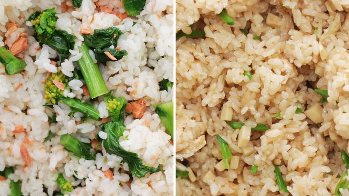 鮭と菜の花のおにぎり4人分材料:水 380ml米 2合(300g)菜の花(塩ゆで、食べやすい大きさに切る) 200g塩鮭(甘口) 1切れ酒 大さじ1みりん 大さじ1塩 小さじ1作り方1. 炊飯器に研いだ米、酒、みりん、塩を加えてひと混ぜし、水を加える。2. 鮭をのせて、ふつうに炊く。炊けたら鮭を取り出して身をほぐし、菜の花とともにご飯に加え、よく混ぜる。3. 手を水で濡らし、(2)を好みの形に握ったら、完成!たけのこのおにぎり4人分材料:水 300ml米 2合(300g)たけのこ(水煮、薄切り) 120g絹さや(塩ゆで、細切り) 10枚油揚げ(細切り) 1枚酒 大さじ2しょうゆ 大さじ2みりん 大さじ2塩 小さじ1/2桜の塩漬け(塩抜き) 適量作り方1. 炊飯器に研いだ米と酒、しょうゆ、みりん、塩を加えひと混ぜし、水を加える。2. たけのこと油揚げを上にのせて、ふつうに炊く。炊けたら絹さやを加え、よく混ぜる。3. 手を水で濡らし、(2)を好みの形に握る。桜の塩漬けを飾ったら、完成!