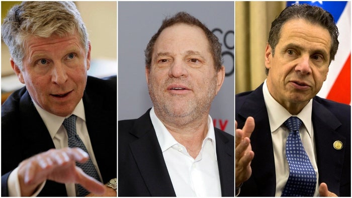 From left: Cyrus Vance, Harvey Weinstein, and Andrew Cuomo.