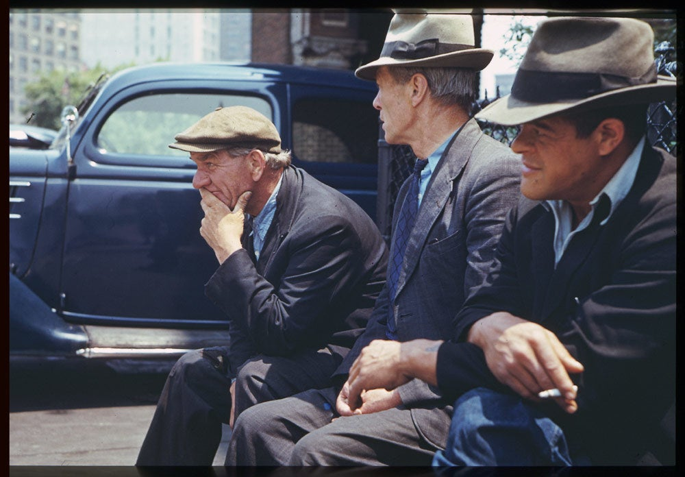 June 6, 1941: Three men from South Ferry flophouses at Battery Park, NYC.